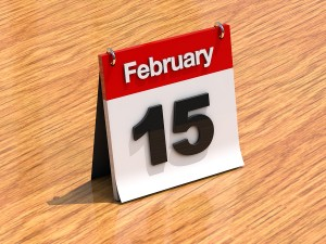 Calendar On Desk - February 15Th