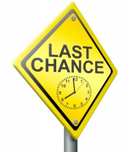 last chance or opportunity time on clock is ticking away now or