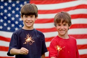 Boys Holding Sparklers