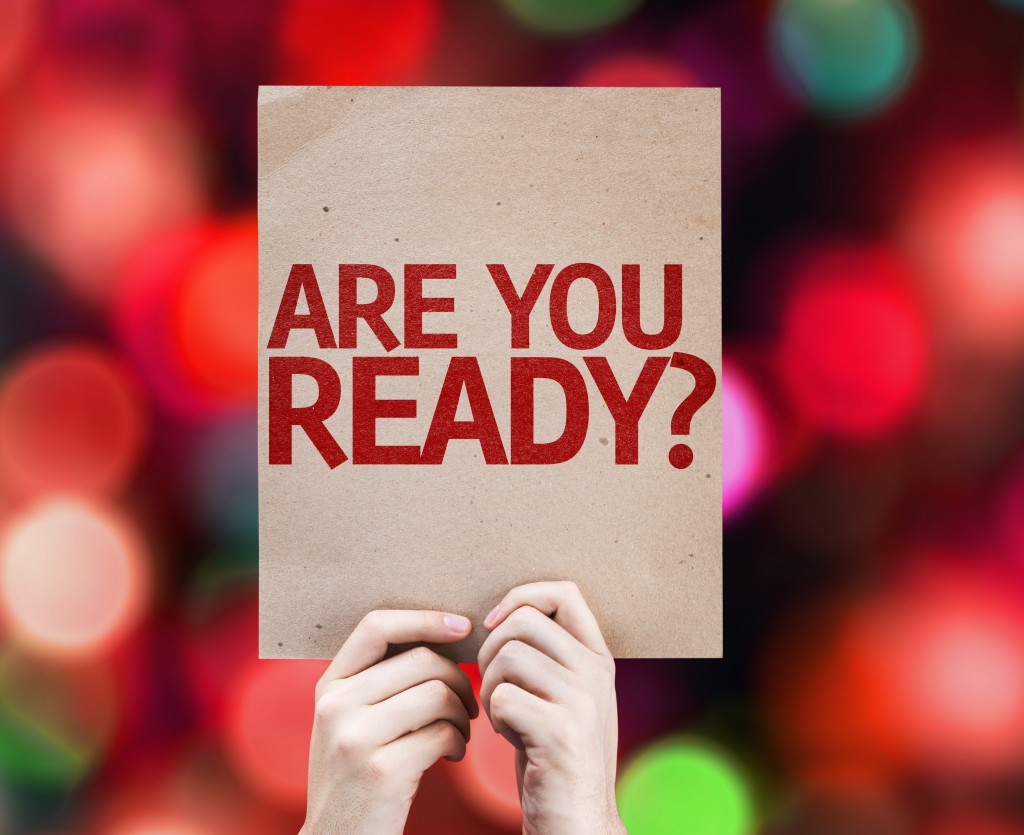 Are You Ready? card with colorful background with defocused ligh