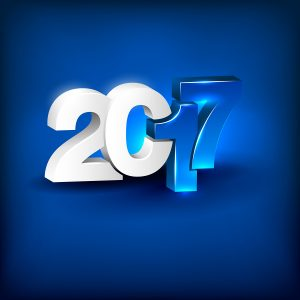 Glowing 3D Lettering 2017 On Blue Background